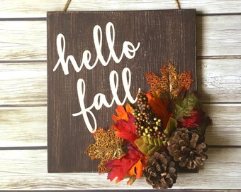DIY KIT - Hello Fall Sign - Create Your Own - Craft Kit - Rustic Fall Decoration - Rustic Fall Sign - Autumn - Hello Fall Door Hanger