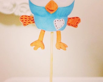 Hoot Party Cupcake Toppers Set of 12. By My Tulip, Handmade Scrapbooking Party Supplies.