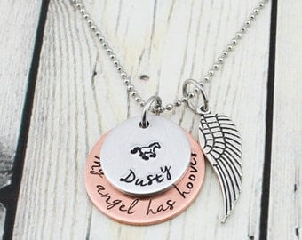 Horse Memorial Necklace - Horse Memorial Jewelry - Personalized Horse Necklace - Pet Memorial Jewelry - Horse Jewelry
