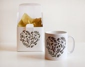 Mothers Day Gift,  Floral Heart Pattern, Flowers, Love Heart, Printed Mug