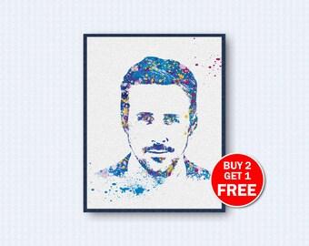 Ryan Gosling Poster, Ryan Gosling Watercolor, Drive Movie Poster, Movie Watercolor, Watercolor Art, Wall Decor, Home Decor