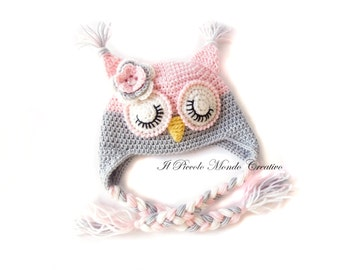 Cute Owl Hat with Sleepy Eyes Made to ORDER Handmade Crochet Hat Owl Ear Flap Hat