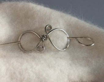 Silver Sweater Pin, Silver Scarf Pin, Simple Silver Shawl Pin, Silver Jewelry, Knitting Accessories, Accessories for Women Gift for Her