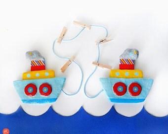 Papier mache boats art & photo display hanger,nautical paper mache,sea,paper art,eco friendly,recycled art,boy room decor,nursery room decor