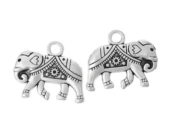 5 Elephant Charms Antique Silver, Double Side Charms, C14