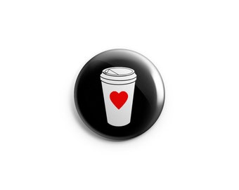 coffee buttons, coffee fridge magnets, stocking stuffer, coffee pins, coffee badges, gift for her, gift for student