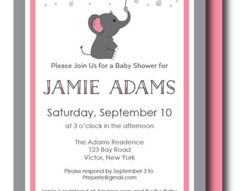 Elephant Baby Shower, Pink and Gray Printable Baby Elephant Birthday Invitation (Elephant Birthday Invitation, Elephant Shower)