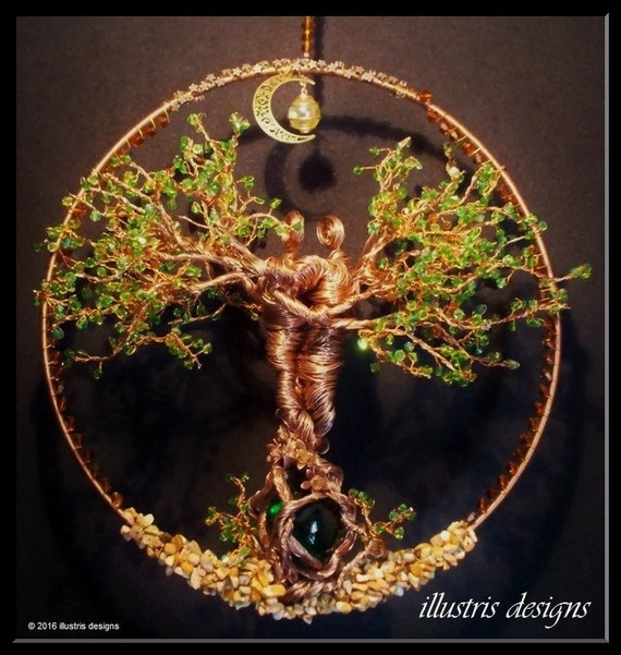 Couple wire tree sculpture suncatcher wire by for How to make a wire tree of life sculpture