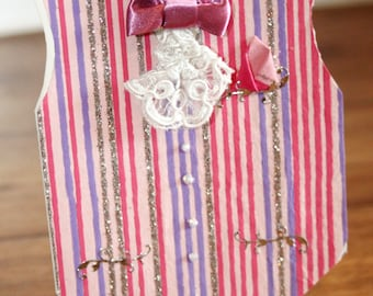 Wedding Congratulations Pink Purple and Silver Stripy Waistcoat for Men Card
