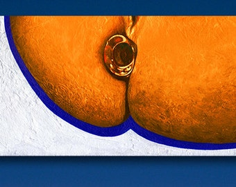 """Clearly Kinky"" Erotic Pop Art Butt Plug Painting [acrylic on canvas, 10x20x0.75""]"