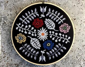 Moody Floral - Modern cross stitch pattern PDF - Instant download