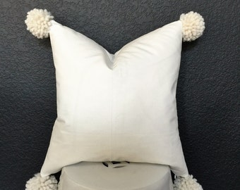 Pillow Cover with  cream Pom Pom