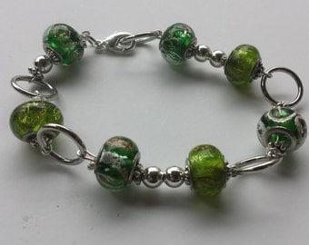Green/Gold/Silver Beaded Silver Bracelet