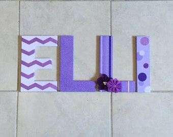 Purple personalized name letters