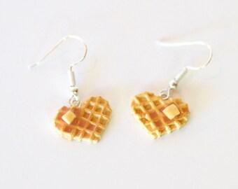 Waffle earrings, food jewelry, food earrings, miniature food jewelry, waffle food earrings, breakfast food