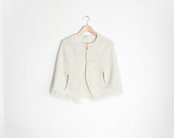 Vintage Poncho - Knit Poncho - Kids Poncho - Winter Clothing - Cream White Woolen Knitted - Poncho with Fringe -70s Girls Poncho -1970s Coat