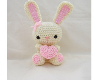 Crochet Bunny, Amigurumi Bunny, crochet Rabbit, crochet soft toy in cream