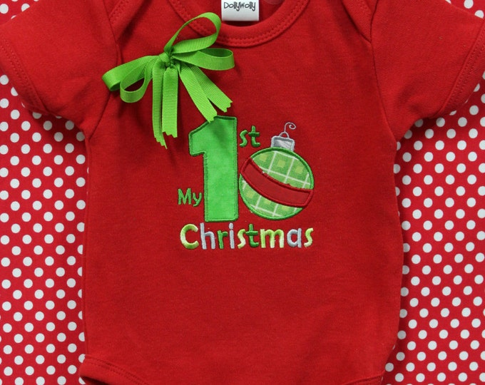 Baby's First Christmas bodysuit, Personalized Baby Girl 1st Christmas bodysuit,Red Christmas bodysuit,Boy Christmas bodysuit,Girl bodysuit