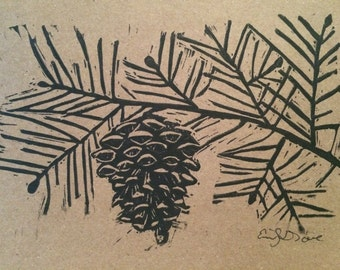 Pine Cone and Bough- Handmade Block Print Greeting Card