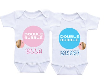 Double Bubble Twin outfits twin baby gift ideas twin boy and girl outfits twin boy girl matching clothes twin onsies twin baby onesies