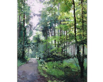 Forest Oil Painting, Landscape Oil Painting, Original Oil Painting, Trees Painting, Forest Painting,