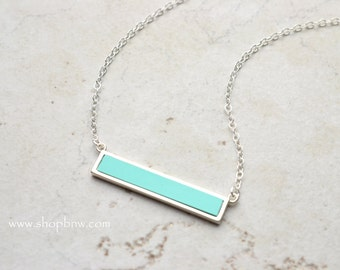 Turquoise Bar Necklace, Turquoise Necklace, Sterling Silver Bar Necklace, Gold, Rose Gold, Delicate Necklace, bridesmaid gifts