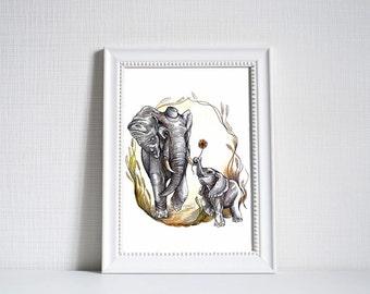 African Elephants Print