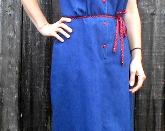 SALE // Vintage denim dress /Maxi denim dress / Light denim / Long denim dress / Long jean dress / Button front denim dress / teacher dress