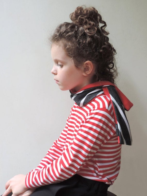 Toddlers Red Scarf - Toddlers Striped Scarf - Kids Scarf - Girls Red Scarf - Reversible Scarf - Children Scarf - Modern Scarf - By PetitWild