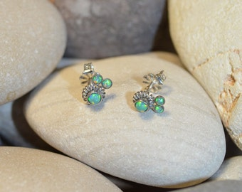 Kiwi Green Opal STUD EARRINGS Silver // 20g Cartilage Earrings - Opal Post Earings - Cartilage Stud - Helix Earring - Conch Piercing