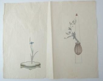 1800's Japanese Wood block print, Ukiyoe, Ikebana, flower arrangement, ref3