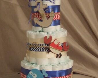 3 Tier Diaper Cake Baby Shower Centerpiece Chevron Nautical, Ahoy Matey Theme
