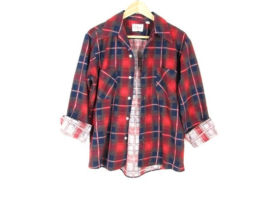 Sale 1960s flannel shirt mens flannel work shirt by for Navy blue and red flannel shirt