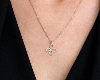 Flower Gold Necklace, Flower Necklace, 14K Gold Necklace, Dainty Gold Necklace, Gold Minimalist Necklace, 14K Flower Necklace, GN0342