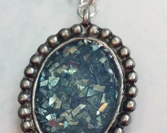 Glitter glass blue druzy pendant necklace. boho chic jewelry. glitter druzy necklace. glitter pendant.  faux druzy pendant. oval pendant