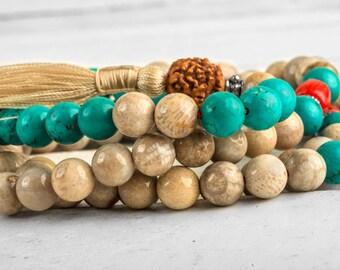 Tibetan Mala Beads, Fossil Coral Mala, Buddhist Rosary Beads, Tassel Meditation Mala - Buddhist Mala, Yoga Mala