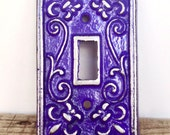 Fleur de Lis Light Switch Plate - Lightswitch Cover - Fleur de Lis Decor - Wall Accents - Light Switch Cover - Purple Wall Decor - Victorian