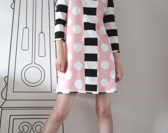 Long Sleeve Dress In Black & White Stripe And Polka Dot / Polka Dot Striped Dress by FabraModaStudio / D110