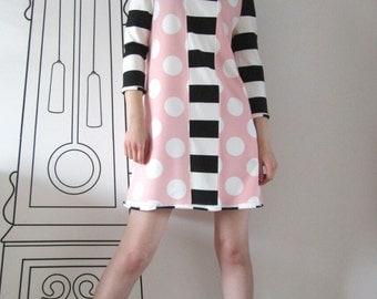Long Sleeve Dress In Black & White Stripe And Polka Dot / Polka Dot Striped Dress by FabraModaStudio / D110