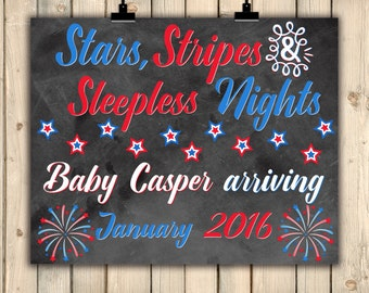 Fourth of July Chalkboard Pregnancy Announcement, 4th July, Memorial Day, Labor Day, Stars Stripes Sleepless Nights, Red White Blue, DIGITAL