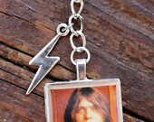 Custom hand made AC/DC Malcolm Young key chain / clip