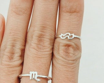 Horoscope Ring, Zodiac Ring, Zodiac Jewelry, Stacking Rings, Gift For Sister, Best Friend Gift, For Her, Christmas Gift, Dainty Ring, Simple