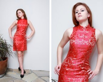 Vintage Alchemy/ Cheongsam/ Wiggle Dress Dress/Royal Red And Gold