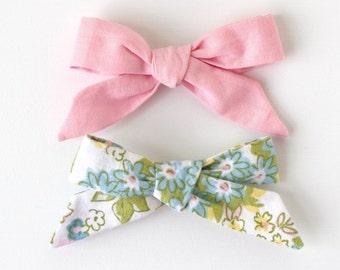 hair bows, fabric hair bows, baby hair clips, hair accessories, toddler hair bows, baby hair bows, pink bows, floral bows, pink hair bows