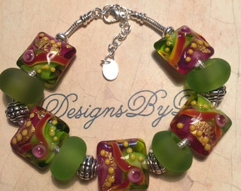 Burgundy, Lime Green and Yellow European Style Bracelet