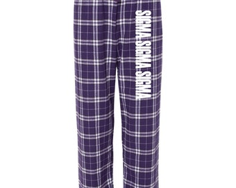 Sigma Sigma Sigma Flannel Pants, Tri Sigma Loungewear, Sorority Greek Apparel, Sorority Clothing, Sorority Letters,