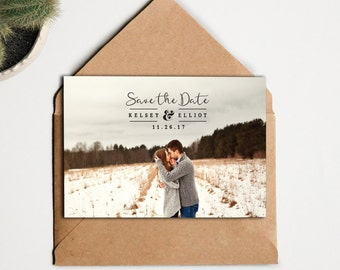 Save The Date - Wedding Save the Date Custom Photo - Printable Digital File - Photo Save the Date - Script Type Save the Date Picture