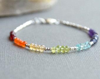Chakra Gemstone Bracelet, 7 Chakra Jewelry, Multi Gemstone Hill Tribe Silver Bracelet, Delicate Fine Silver and Gemstone Bracelet, Boho Chic