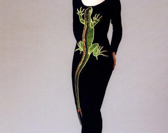 "Hand embroidered evening dress ""Beloved Lizard #2"""