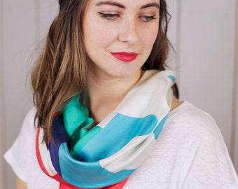 Foulard en soie imprimée, foulard femme, foulard graphique, foulard Twin Peaks, foulard été, foulard coloré, foulard imprimé géométrique